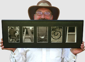 David Matthews with one of his photographic words, Laugh