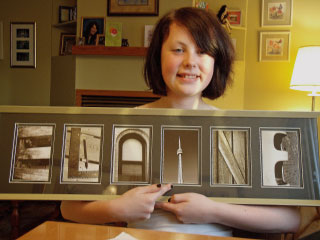 Elaine Schultz with her name created from letter photos