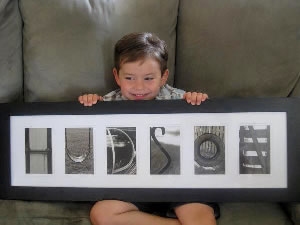 Hudson with his name created from letter photos