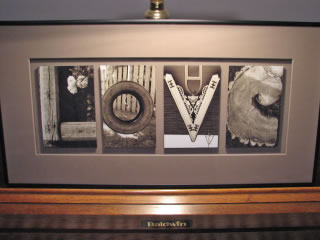 The word Love created from photographs